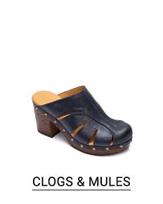 A black leather clog. Shop clogs & mules.