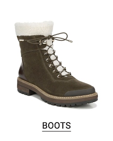 A black leather fleece lined lace up boot. Shop boots.
