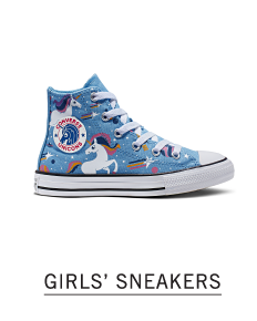 A light blue & white print high top sneaker. Shop girls sneakers.