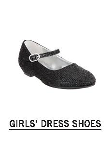 A black flat dress shoe. Shop girls dresss shoes.