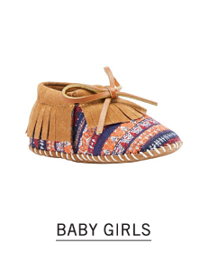 A brown suede frings & multi colored print bootie. Shop baby girls shoes.