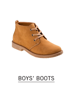 A beige suede work boot style boot. Shop boys boots.