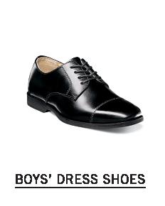 A black leather dress shoe. Shop boys dress shoes.