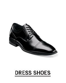 A black leather dress shoe. Shop dress shoes.