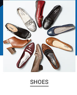 A collection of shoes in a varity of colors and styles. Shop shoes.