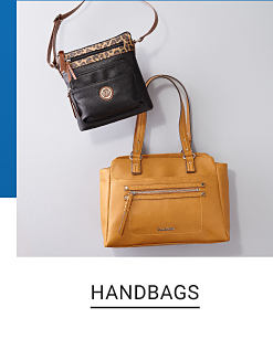 A black crossbody bag and a tan tote bag. Shop handbags.