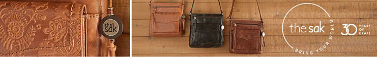An assortment of leather handbage in a variety of colors & styles. The Sak. Bring your world. 30 years of craft.