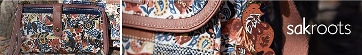 A multi colored print handbag with brown leather trim. Sakroots.