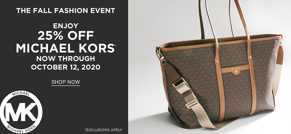 Large dark brown canvas tote bag with MK logo pattern and light brown fabric strap. The fall fashion event. Enjoy 25% off Michael Kors now through October 12, 2020. Shop now. Exclusions apply.