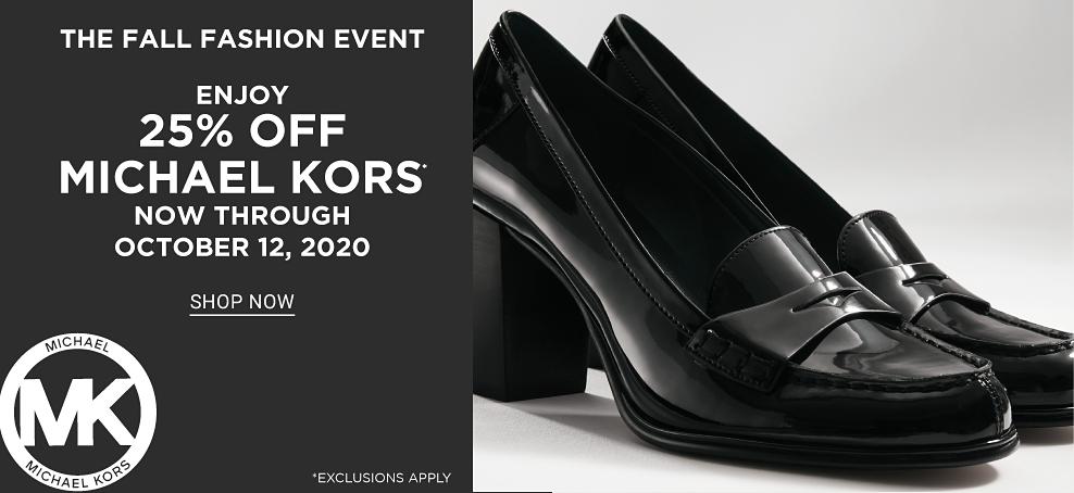 Shiny black block heels with upper strap accent. The Fall Fashion Event. Enjoy 25% off Michael Kors now through October 12, 2020. Shop now. Exclusions apply.