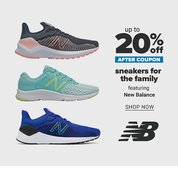 Up to 20% off after coupon sneakers for the family featuring New Balance. Shop Now.