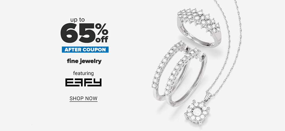 A sterling silver ring with multiple layers of small diamonds across the front. A pair of sterling silver hoops with diamonds on front. A sterling silver necklace with small chain and halo diamond charm. Up to 65% off after coupon fine jewelry featuring Effy. Shop now.