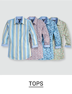 Various button up shirts in different colors and patterns. Shop tops.