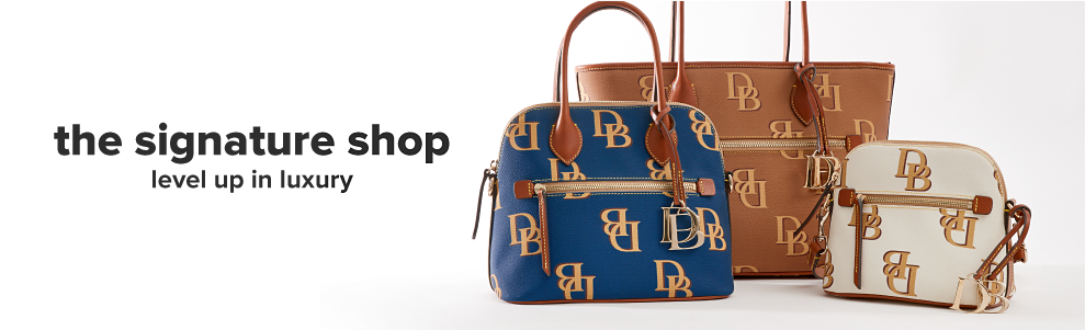 Three designer handbags from Dooney and Bourke in navy, brown and white featuring a large Dooney and Bourke logo print. The signature shop. Level up in luxury.