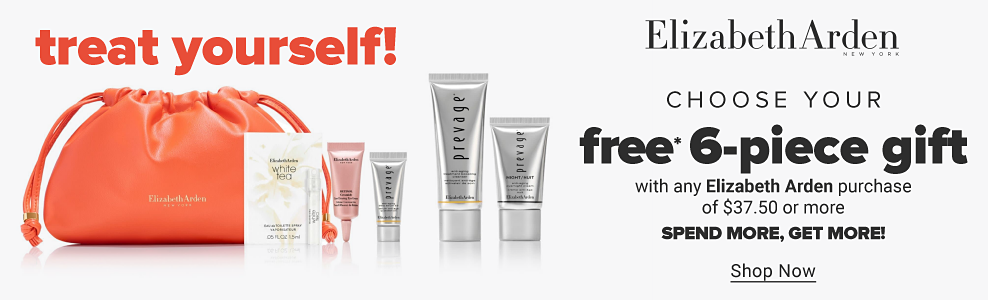 An assortment of Elizabeth Arden skincare including serums, creams and more. An orange Elizabeth Arden cosmetics drawstring bag. Treat yourself. Choose your free six-piece gift with any Elizabeth Arden purchase of 37.50 or more. Spend more, get more. Shop now.