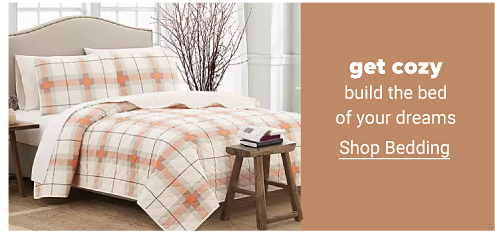 A plaid bedding set in ivory and orange featuring a comforter and matching pillow shams. Get cozy. Build the bed of your dreams. Shop bedding.