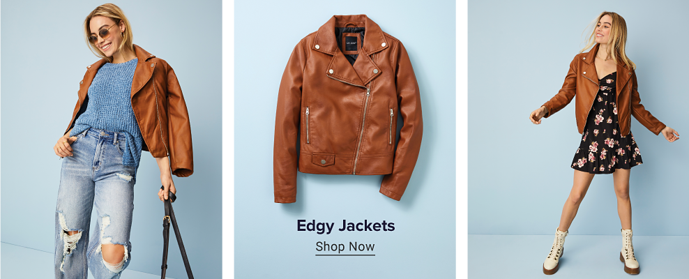 A woman wears a brown faux leather jacket with a blue knit sweater and jeans with holes at the knees. A photo of that jacket by itself, and another photo fo the woman wearing a black dress with the jacket. Faux leather jackets. Shop now.