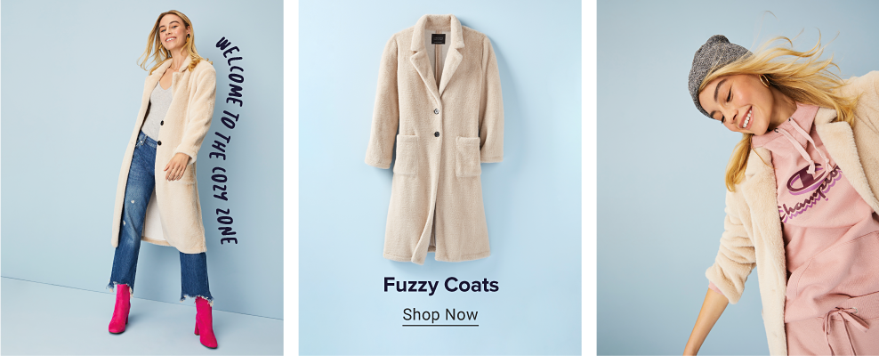 A woman wearing a beige sherpa coat over a gray top with blue jeans and bright pink booties. A photo of the sherpa coat by itself, and another with the woman wearing a sherpa coat over a pink Champion hoodie. Sherpa coats. Shop now.