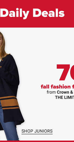 A woman in a long blue sweater with a brown stripe that's unbuttoned to reveal a a cream colored shirt. A man in a blue button up shirt with a gray vest over top, and khaki pants. Seventy percent off fall fashion for the family from Crown and Ivy, True Craft, The Limited and more. Shop women. Shop juniors. Shop men. Shop kids.