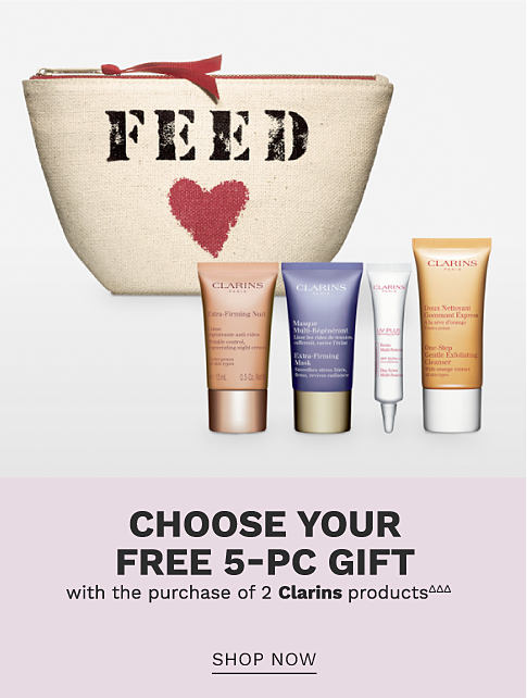 A makeup bag and 4 Clarins products. Choose your free 5 piece gift with the purchase of 2 Clarins products. Shop now.