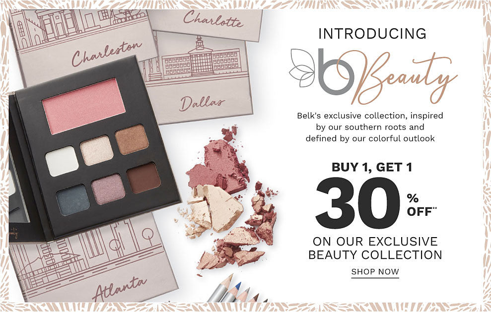 5 makeup palettes by Belk Beauty. Introducing Belk Beauty, Belk's exclusive collection, inspired by our southern roots and defined by our colorful outlook. Buy 1, get 1 30% off on our exclusive beauty collection. Shop now.