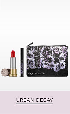 A makeup bag and a variety of Urban Decay beauty products. Shop Urban Decay.