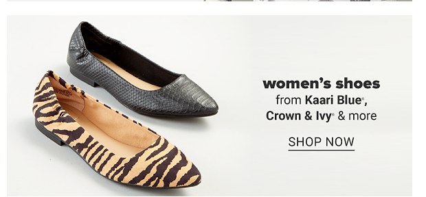 An animal print flat and a black flat. Women's shoes from Kaari Blue, Crown and Ivy and more. Shop now.