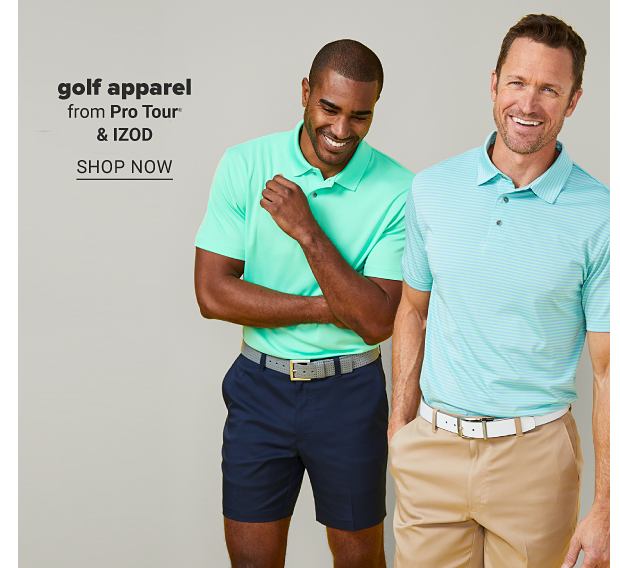 A man in a green polo, navy shorts and a gray belt. A man in a blue polo, khaki shorts and a white belt. Golf apparel from Pro Tour and Izod. Shop now.