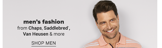 A man in a light orange white and blue stripe polo, khaki shorts and a brown belt. Men's fashion from Chaps, Saddlebred, Van Heusen and more. Shop men. Shop big and tall. Free store pickup. Get a fresh look today! Free contactless curbside pickup.