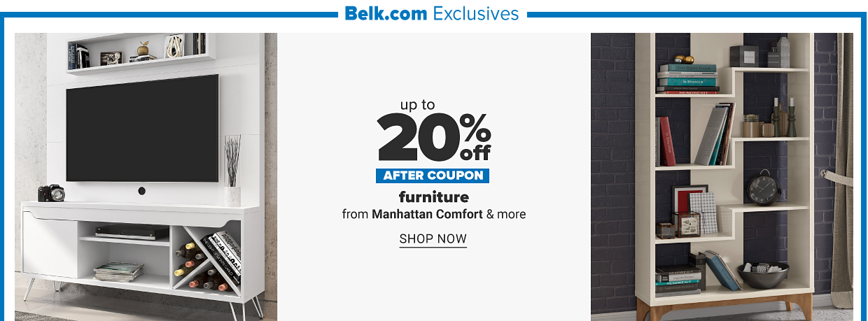 Belk.com exclusives. A white entertainment center with a tv and a variety of decor. A large white shelf with a variety of books and home decor on it. Up to 20% off after coupon, furniture from Manhattan Comfort and more. Shop now.