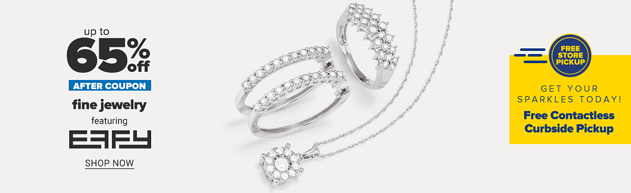 White gold and diamond earrings, a white gold and diamond ring and a white gold diamond pendant necklace. Up to 65% off after coupon, fine jewelry featuring Effy, shop now.