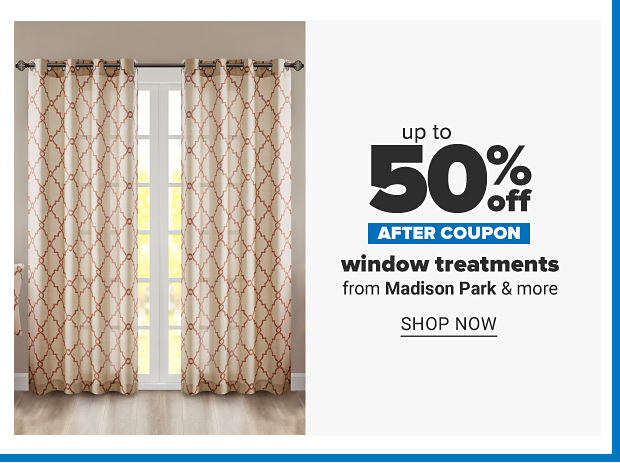 A window with white and brown lattice print floor length curtains. Up to 35% off after coupon, window treatments from Madison Park and more. Shop now.