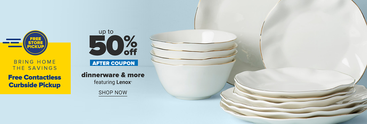 A white and gold trim dinnerware collection featuring bowls and plates in a variety of sizes. Free store pick up. Bring home the savings. Free contactless curbside pickup. Up to 35% off after coupon, dinnerware and more featuring Lenox. Shop now.