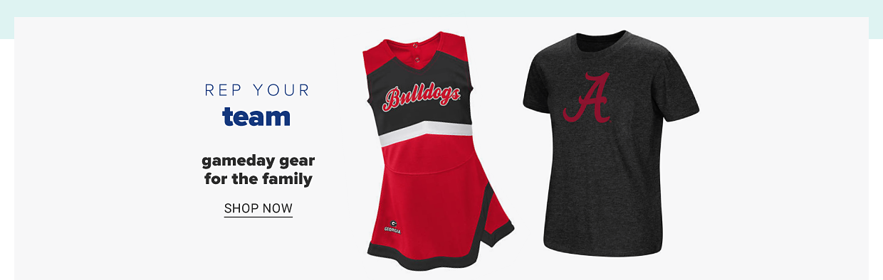 A girls' red, black and white cheerleading outfit with a team logo. A gray tee with a red team logo. Rep your team. Gameday gear for the family. Shop now.