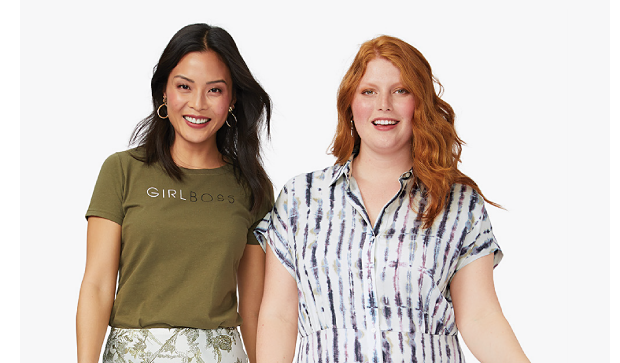 A woman in an olive green tee shirt that says girl boss, a white and green floral print ankle length skirt and brown sandals. A woman in a white and blue abstract print button front, short sleeve ankle length dress and navy blue sandals. Women's Belk exclusives from The Limited, Kim Rogers and more. Shop women. Shop women's plus.