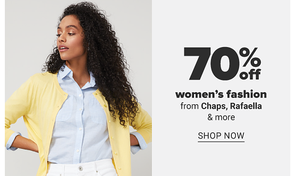 A woman in a light blue button front dress shirt, a yellow sweater and white pants. Women's fashion from Chaps, Rafaella and more. Shop now.