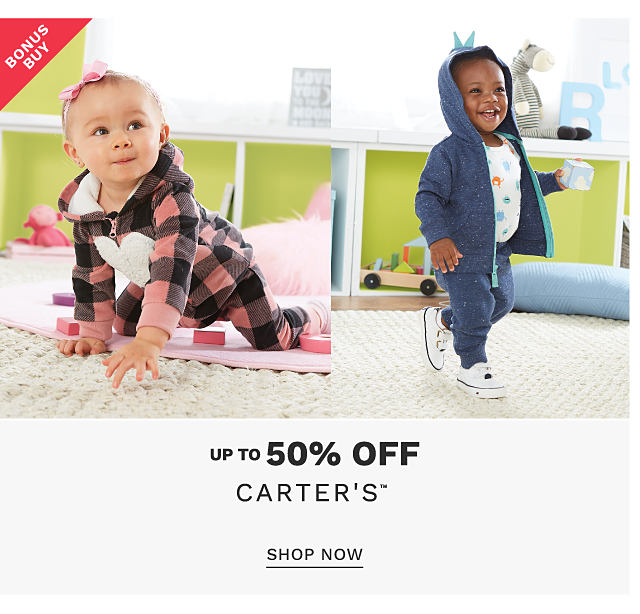 A baby girl wearing a black & pink plaid hoodiie with a white heart front graphic & matching pants. A baby boy wearing a blue hoodie, matching pants, a white shirt with a multi colored print & white sneakers. Bonus Buy. Up to 50% of Carter's. Shop now.