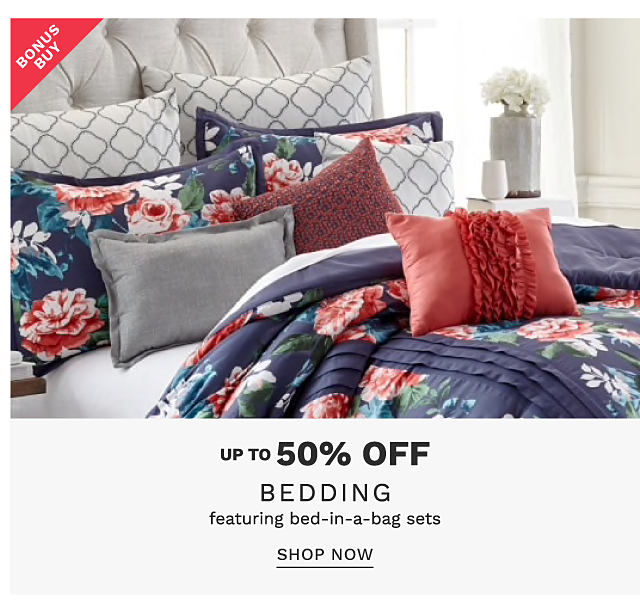 A bed made with a a multi colored floral print comforter & matching pillows. Bonus Buy. Up to 50% off bedding featuring bed in a bag sets. Shop now.