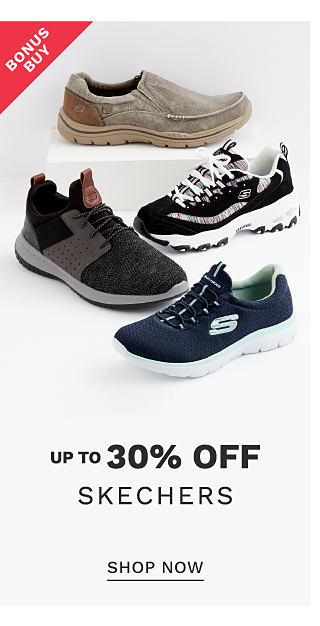 An assortment of Skechers sneakers in a variety of colors & styles. Bonus Buy. Up to 30% off Skechers. Shop now.