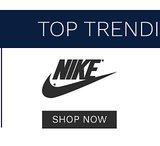 Top trending brands. Nike. Shop now.