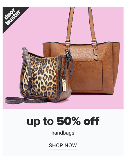 A leopard print handbag with brown leather trim & strap & a brown leather tote. Doorbuster. Up to 50% off handbags. Shop now.