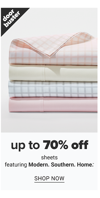 A stack of folded sheets in a variety of colors & prints. Doorbuster. Up to 70% off sheets featuring Modern Southern Home. Shop now.