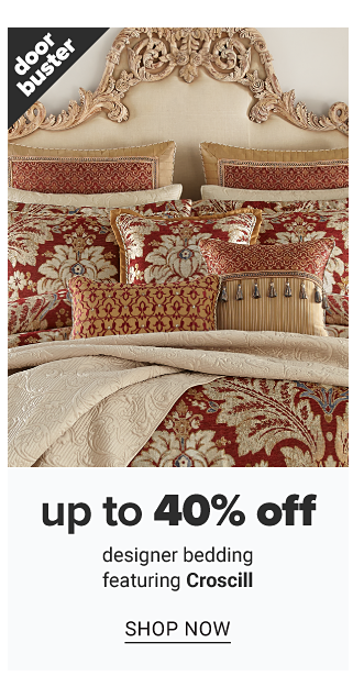 A bed made with a burgundy & beige patterned print comforter & matching pillows. Doorbuster. Up to 40% off designer bedding featuring Croscill. Shop now.