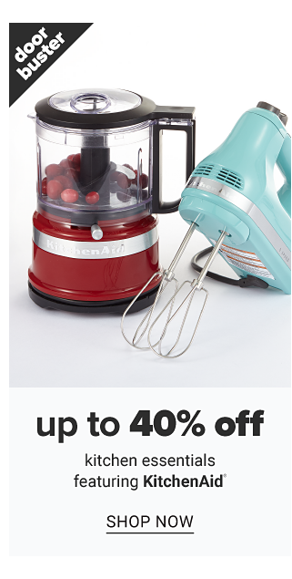 A red food processor & a light blue hand mixer. Doorbuster. Up to 40% off kitchen essentials featuring KitchenAid. Shop now.