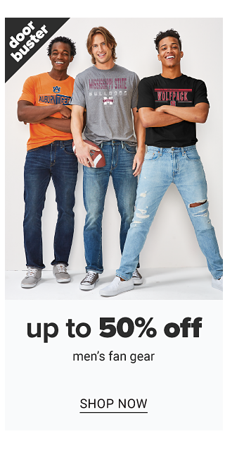 A young man wearing a light pink short sleeved button front shirt & black shorts standing next to a young man wearing a black polo & red shorts. Doorbuster. Up to 50% off men's fan gear. Shop now.