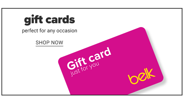 A fuchsia Belk gift card with white & yellow text. Gift cards. Perfect for any occasion. Shop now.