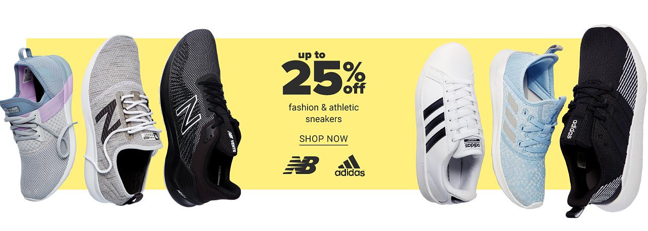 An assortment of sneakers in a variety of colors & styles. Up to 25% off fashion & athletic sneakers. Shop now.