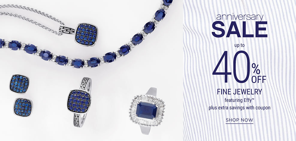 An assortment of blue diamond & silver fine jewelry. Anniversary Sale. Up to 40% off fine jewelry featuring Effy plus extra savings with coupon. Shop now.