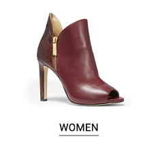 A dark brown leather high heeled bootie. Shop women.