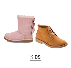 A pink girls boot & a beige suede work boot style boys boot. Shop kids.